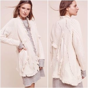Anthropologie | Cream fringe cardigan